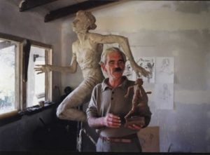 Antony with model of Marjorie Jackson Statue